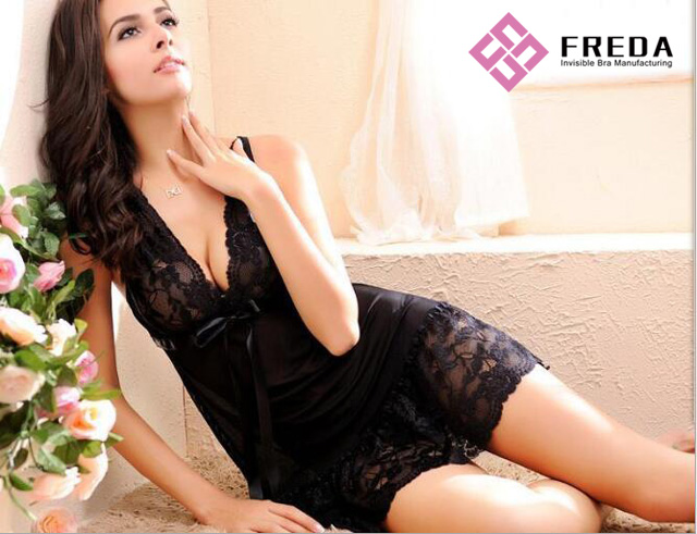 Black Lace Edge Half Transparent Brassiere Onepiece Dress