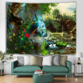 Peacock in Forest Tapestry River Chalet Crane Wall Hanging Nature Style Tapestry for Livingroom Bedroom Home Dorm Decor