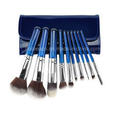 10PCS Travel Cosmetic Makeup Brush with a Shiny Case