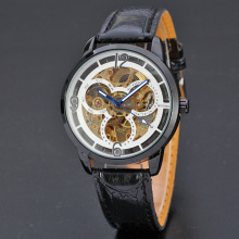 automatic tourbillon watch winner leather band men watch