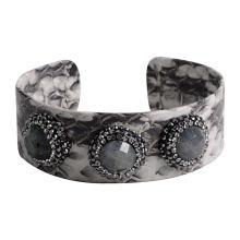 Nuevo llega la pulsera del cuero de Jewelrysnack de la manera con la piedra preciosa