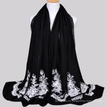 Niza color grande tamaño chino proveedor yiwu ciudad barato bordado bufanda y shawel para mujeres