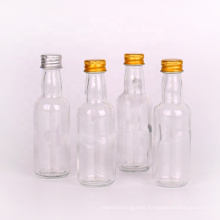 Factory Small 50ml round glass beverage spirit bottle with aluminium screw cap