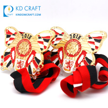 Unique design custom made metal zinc alloy colorful soft enamel butterfly shaped carnival medal with ribbon