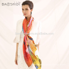 2015 China silk scarf fashionable scarf digital print silk lady scarf and shawl wholesale
