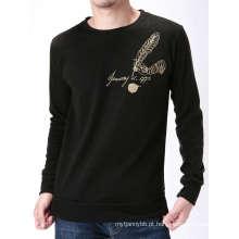 Logotipo de impressão personalizada no peito algodão moda homens Longsleeve t-shirt