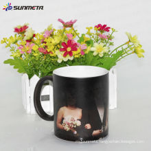 Hot Sale matt black color ceramic mug color changing magic mug