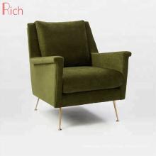 Modern Home Furniture Stainless Steel Armchair Green Velvet Single Couch