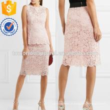 Corded Cotton-mistura Lace Midi Saia Fabricação Atacado Moda Feminina Vestuário (TA3059S)