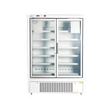 Upright glass door display freezer for supermarket