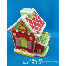 Christmas House Ceramic Hand-Painted Cookie Jar
