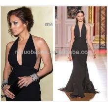 Sexy 2014 Negro Halter Backless Jennifer López Funda gasa formal vestido de noche plumas acento largo vestido NB029