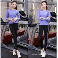 Wholesale 88% Polyester 12% Spandex Sport Tops Women, Gym Wear, Long Sleeve Yoga Tops Women