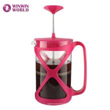 Venta caliente coloreada plástico elegante Pyrex café y té fabricante