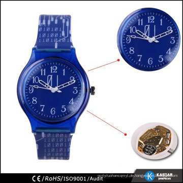 Fabrik Großhandel billig Uhr, Kunststoff-Armband Druck Kind Uhr