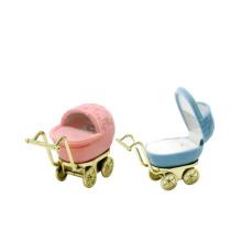 Unique Velvet Baby Stroller Shaped Ring Box