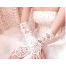 2016 Lange Elfenbein Spitze Ellenbogen Länge Braut Handschuhe Fingerlose Haken Hochzeit Handschuhe
