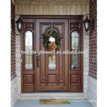 Puerta de entrada de madera maciza de lujo Puerta de madera tallada