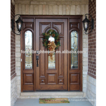 Porta de madeira cinzelada luxuosa exterior da porta de entrada da folhosa do luxo