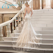 Deep V Neck Backless Lace Sexy Mermaid Wedding Dresses