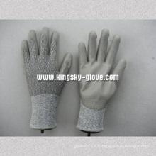 Gant de travail en résine de coupe recouvert de PU avec doublure en tricot en caoutchouc 13G Hppe