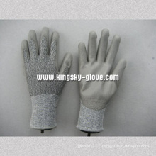 PU Coated Cut Resistance Work Glove with 13G Hppe String Knit Lining