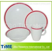 Porcelana 16PC cena conjunto en borde de color rojo (RC-001)