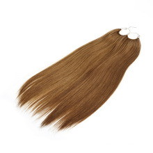 Wholesale 20inch Light Brown Color Straight Korea Cotton Thread Knotted No Tip Hair Extension Human Hair Remy Hair Virgin Hair