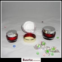 15ml 30m l50ml Oval Shape Red Acrylic Cosmetic Jar
