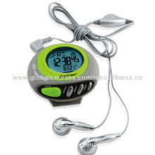 Best Selling Fashionable Sports Radio Calorie Pedometer with Clock, Dial LCD Screen Display