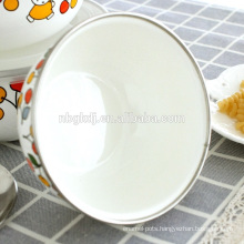 5 pc enamel ice /rice bowl with PE lids & Chinese enamelware wholsale