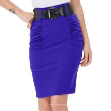 Kate Kasin Mujer Shirred Detalle Alto Stretchy falda lápiz azul con cinturón ancho KK000271-4
