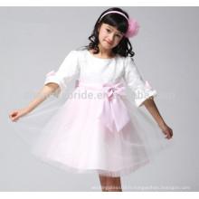 Nouveaux 3/4 manches fille première communion robe en dentelle en ligne tutu fleur fille robes avec des arcs