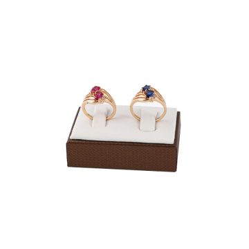 White Brown Leather Couple Ring Display Wholesale (RSW2)