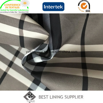 100 Polyester 260t Twill Print Lining Classic Big Check Pattern for Women′s Wind Coat and Jacket
