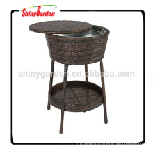Wicker Rattan Ice Bucket Beverage Cooler With Tray