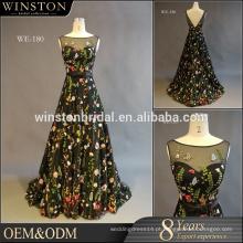 2016 Guangzhou Fornecedor Vestido de Baile Longo preto Bateau decote vestido de noite