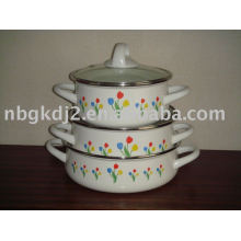 Enamel Cooker Set With Glass Lid