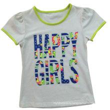 Мода девушка детская одежда письмо футболки с вышивать Сгт-035