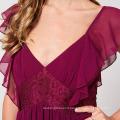 Lace Patchwork Frill Detail Bridesmaids Long Tropical Chiffon Dress Women