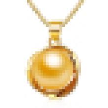 Женщин розовое золото натуральный жемчуг Кулон ожерелье с цепью