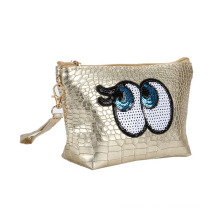 Funny Girls Fashion Cosmetic Bag Eyes Sequin Embroidery Patch Textured PU Lipstick Zipper Pouch Bag