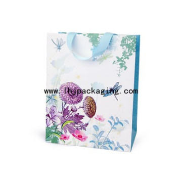 High Quality Art Paper Bag with Glued Ribbon on The Top