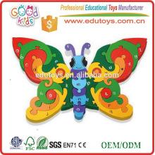 Venta al por mayor de niños preescolares educativos de juguete de madera Jigsaws alfabeto mariposa