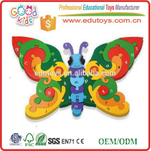 Wholesale Preschool Kids Educational Wooden Toy Jigsaws Alphabet Butterfly