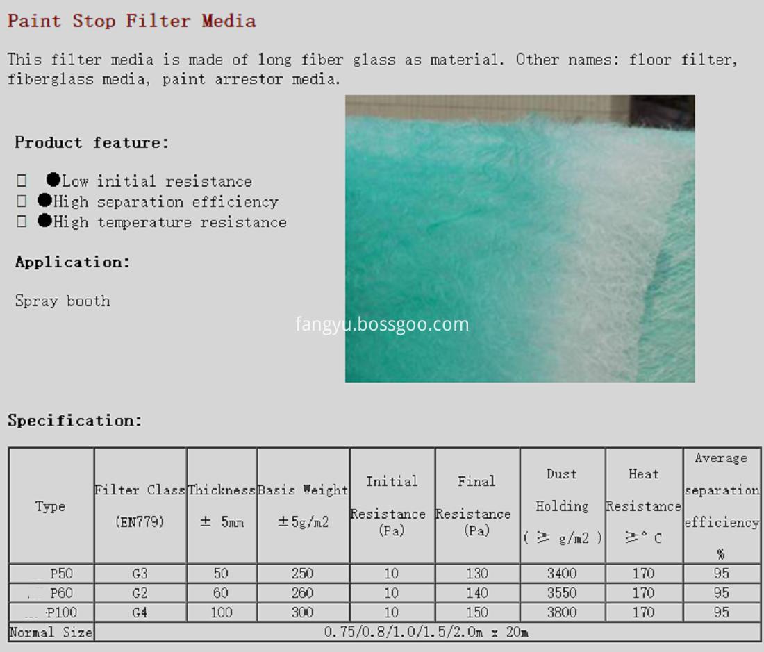 Paint Stop Filter Media catalog