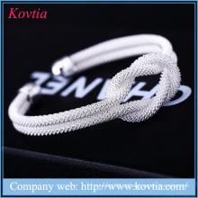 Hot Venda New Design Bracelet Mulher Cheap Custom Sterling Silver Bangles