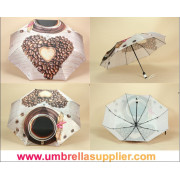 Automatic Silk Brand Three Section Umbrella with Leather Handle