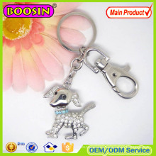 Hot Sale! Floating Silver Plated Crystal Dog Keychain