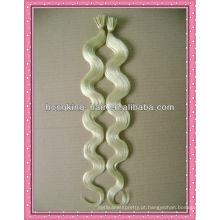 onda do corpo cor branca i-ponta extensão do cabelo de queratina